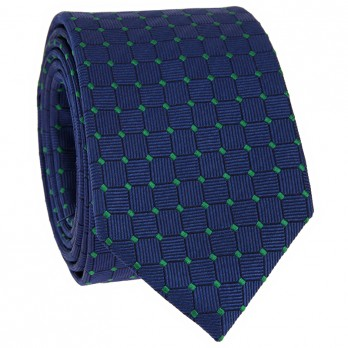 Navy Blue Tie with Green Dots in Silk