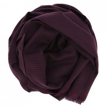 Burgundy merino wool scarf with glencheck pattern