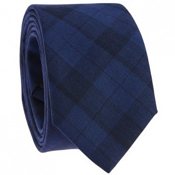 Midnight Blue Tartan Tie in Wool