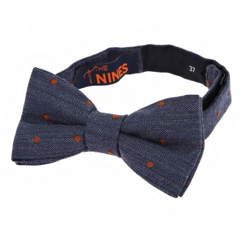 Navy Blue Bow Tie with Orange Dots in Wool