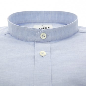 Light blue band collar flannel shirt