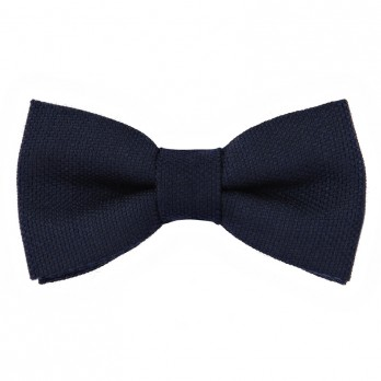 Navy Blue Bow Tie in Silk and Wool