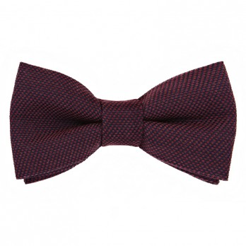 Burgundy Bow Tie in Silk and Wool