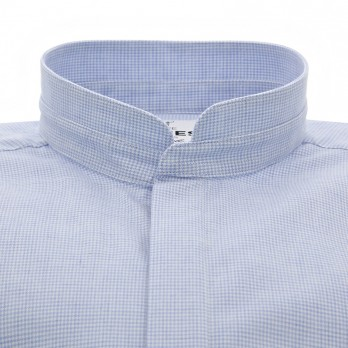 Light blue Mandarin collar flannel shirt with houndstooth pattern