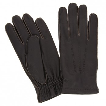 Dark Brown Deerskin Leather Gloves with Cashmere Lining