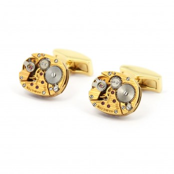 Gold watch movement cufflinks - Hamilton