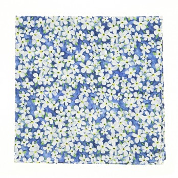 Blue Liberty pocket square with white flowers - Jasmin