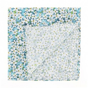 Turquoise Liberty pocket square with white flowers - Jasmin
