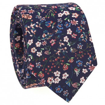Navy blue Liberty tie with flowers - Lily
