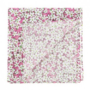 Pink Liberty pocket square with white flowers - Jasmin