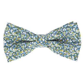 Blue and green Liberty bow tie with speckled flowers