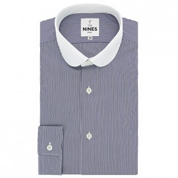 Club collar shirt with navy blue stripes