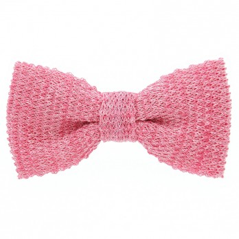 Knit bow tie linen pink