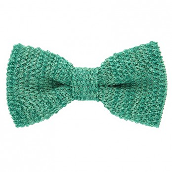 Knit bow tie linen green