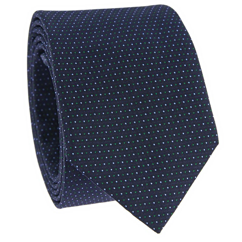 Navy blue Jacquard silk tie with green dots