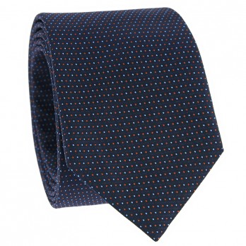 Dotted tie navy blue and orange in Jacquard silk