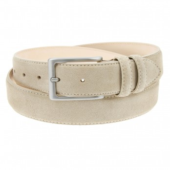 Suede Leather Belt Beige - Lino
