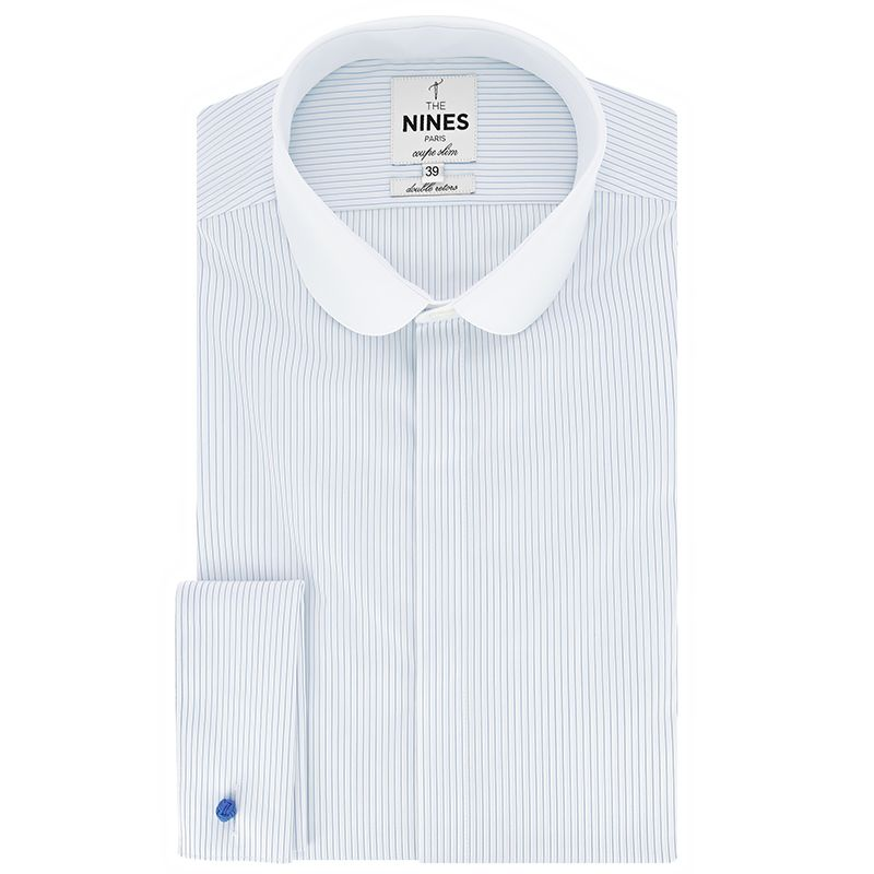 Chemise Sea Island mousquetaire col rond blanc à rayures