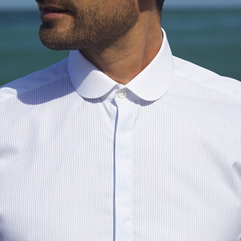 Sea Island shirt with french cuffs club collar and stripes