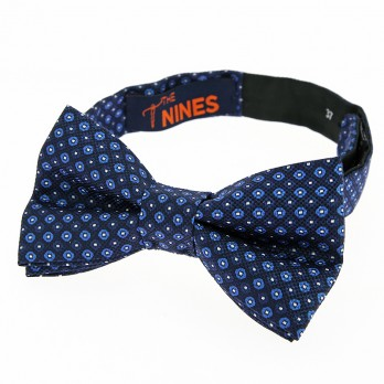 Navy blue bow tie with navy and light blue dots