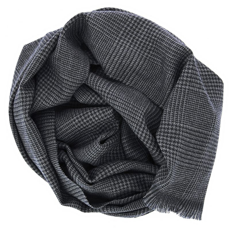 Grey merino wool scarf with glencheck pattern