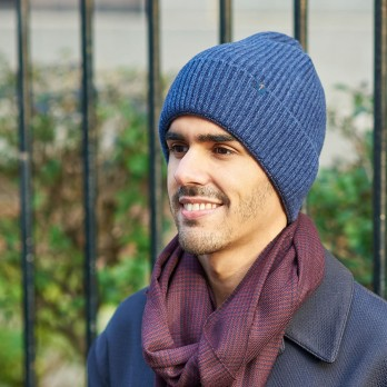 Dark Blue Beanie with Merino Wool and Cashmere
