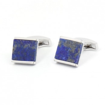 Sterling silver and lapis lazuli squared cufflinks - Minkebe
