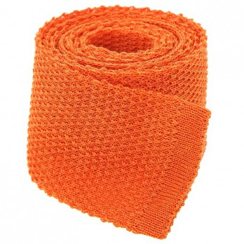 Cravate tricot lin chiné orange