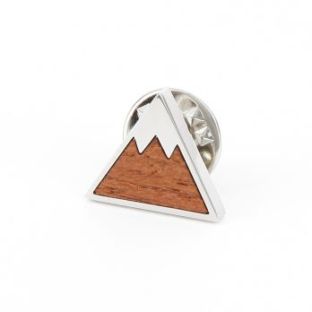 Wooden mountain Badge Pin - Aspen