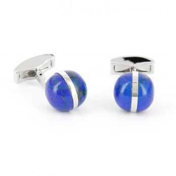 Lapis lazuli and silver spherical cufflinks - Saturne