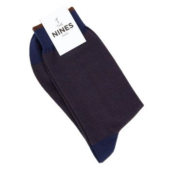 Cotton socks navy blue with brown stripes