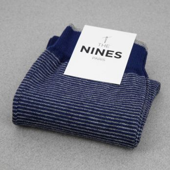Cotton socks navy blue with grey stripes