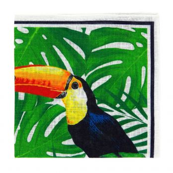 Yellow and green pocket square toucan print