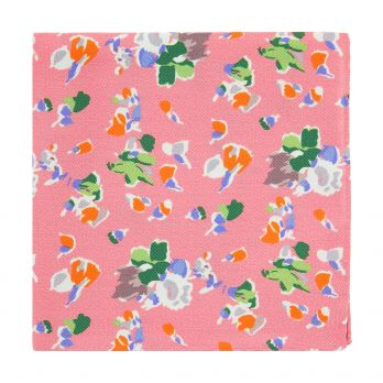 Pink pocket square with flowers