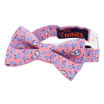 Pink bow tie with flowers and paisley