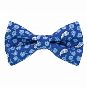 Blue bow tie with flowers and paisley