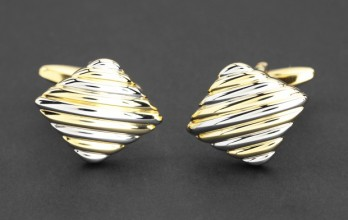 Gold and silver cufflinks - Rhombe