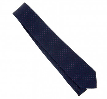 Navy Blue Tie with Small Red Polka Dots - Washington II
